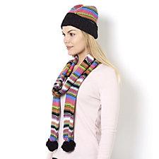 Muk Luks Stripy Combo Hat & Scarf Set