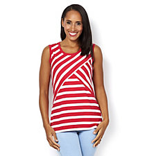 Weekend Striped Stretch Cotton Sleeveless Top by Susan Graver