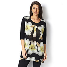 Butler & Wilson Frangipani Flower Round Neck Double Layered Chiffon Top