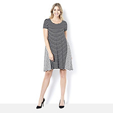 Short Sleeve Scoop Neck Striped Trapeze Dress by Nina Leonard