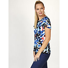 Mr Max Printed Brazil Knit Flutter Sleeve Top