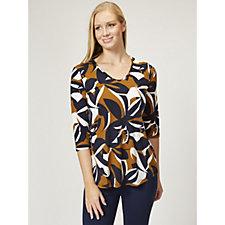 Kim & Co Graphic Leaves 3/4 Sleeve V Neck Tunic