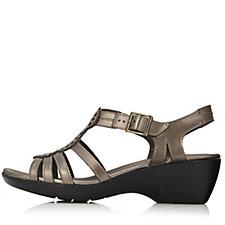 Clarks Ella Ballet Leather Sandal w/ Buckle Fastner Wide Fit