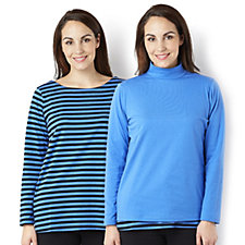 Bob Mackie Set of 2 Long Sleeve Tops Striped T-Shirt & Plain Turtleneck