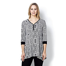 Printed Top with Button Placket by Nina Leonard