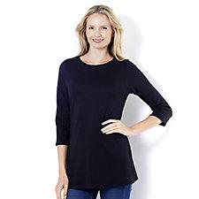 C. Wonder Essentials 3/4 Sleeve T-Shirt Ladder Lace Hem