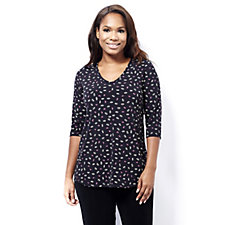 Kim & Co Brazil Knit Lips Print 3/4 Sleeve V Neck Tunic