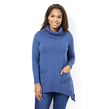 Ribbed Cowl Neck Jumper with Front Pockets by Nina Leonard
