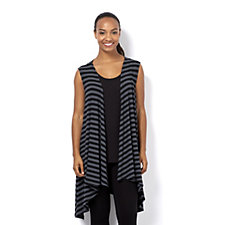 Join Clothes Rib Jersey Stripe Edge to Edge Waistcoat