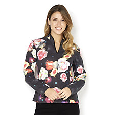 Butler & Wilson Roses Print Open Neck Long Sleeve Top