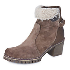 Manas Leather Ankle Boot with Fur Trim