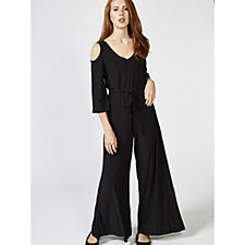 Attitudes by Renee Cold Shoulder Belted Jumpsuit w/ Flutter Sleeves