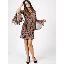 Coco Bianco Printed Flared Sleeve Dress
