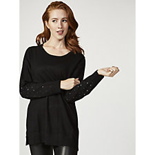 Knitted Top with Diamante Sleeve Detail by Michele Hope