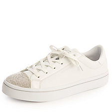 Skechers Street Hi Lite On Point Rhinestone Vamp Lace Up Court Trainer