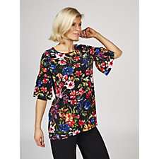 Kim & Co Printed Brazil Knit Fluted Sleeve Tunic