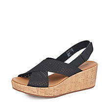 Clarks Laser Cut Leather Wedge Sandal Standard Fit