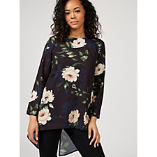 Grace 3/4 Sleeve Printed Chiffon Tunic with Asymmetric Hem