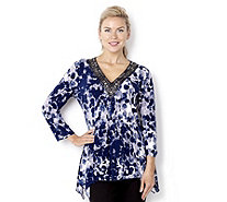 Fashion by Together Print Tunic with Embellished Neckline - 116412