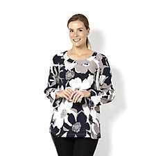 Silvia Mori Front Printed Top with Back Button Detail
