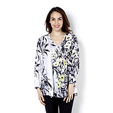 157612 - Fashion by Together Print Blouse with Pintuck Detail