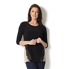 Printed Front Top with Lace Trim Detail by Nina Leonard