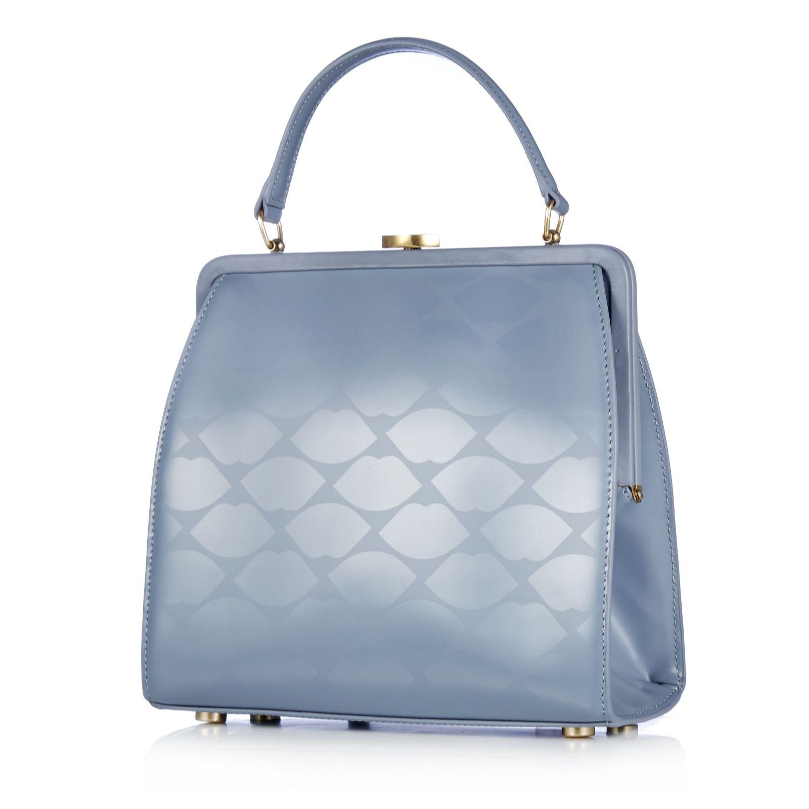 Silver leather tote bag uk - Lulu Guinness Lip Print Leather Eva Handbag 158912