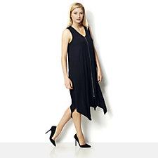 159112 - Yong Kim Modal Zip Front Dress with Dip Hem & Pocket Detail