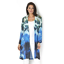 Andrew Yu Blue Ink Printed Chiffon Duster