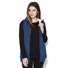 Denim & Co. Zip Front Sherpa Lining Hooded Gilet