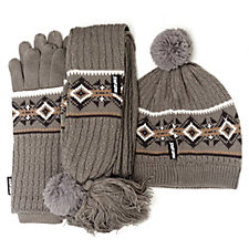 Muk Luks Hat, Scarf & Glove 3 Piece Set