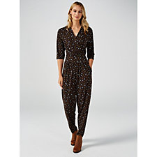 Kim & Co Brazil Knit Lips Print 3/4 Sleeve Crossover Jumpsuit