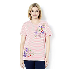 Quacker Factory Short Sleeved Embroidery Detail Stripe Top
