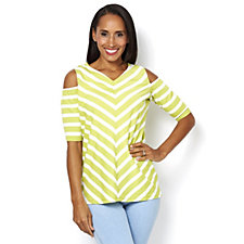 Weekend Striped Stretch Cotton Cold Shoulder Top by Susan Graver