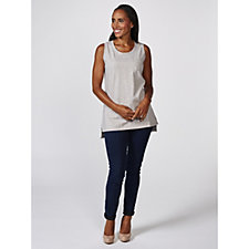Isaac Mizrahi Live Scoop Neck Vest Top with Hi Lo Hem