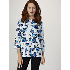 Artscapes Watercolour Blue Floral Print 3/4 Sleeve Round Neck Top