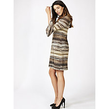 Coco Bianco 3/4 Sleeve Metallic Knit Shift Dress