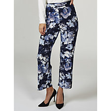 Kim & Co Clouded Floral Brushed Venechia Wide Waistband Wide Leg Trousers
