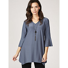 Grace V Neck Fluted Sleeve Tunic with Necklace