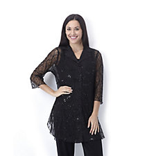 Enchanted Shimmer Dip Hem Sequin Shirt by Michele Hope
