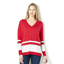 Diane Gilman Stripe Pattern V Neck Boyfriend Sweater