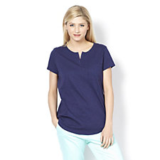 Isaac Mizrahi Live Split Neck Cotton T-Shirt