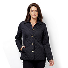 C. Wonder Water Resistant Diamond Quilted Jacket with Printed Lining