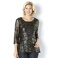 162213 - Lace 3/4 Sleeve Tunic by Nina Leonard
