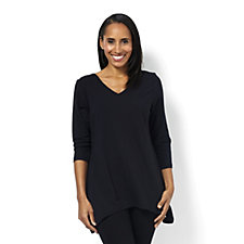 Stretch Cotton Reversible Neckline Top by Susan Graver