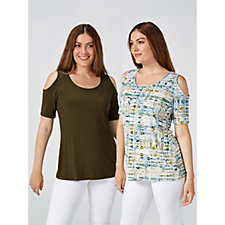 165113 - Pack of 2 Plain & Printed Cold Shoulder Tops by Nina Leonard