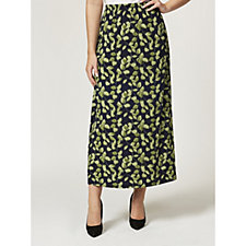 Kim & Co Monochromatic Leaves Brazil Knit Maxi A-Line Skirt