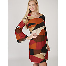 Coco Bianco Long Sleeve Printed Dress with Velvet Trim Fluted Cuffs