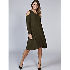Long Sleeve Cold Shoulder Ribbed Swing Dress by Nina Leonard