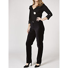 Isaac Mizrahi Live Woven Velvet Straight Leg Regular Trousers